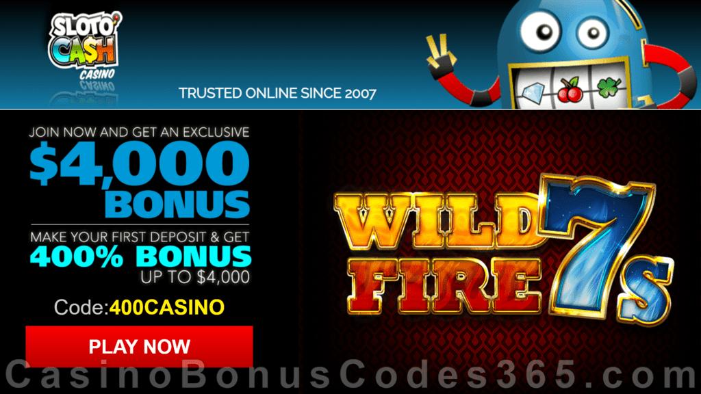 SlotoCash Casino RTG Wild Fire 7s 400% Welcome Bonus