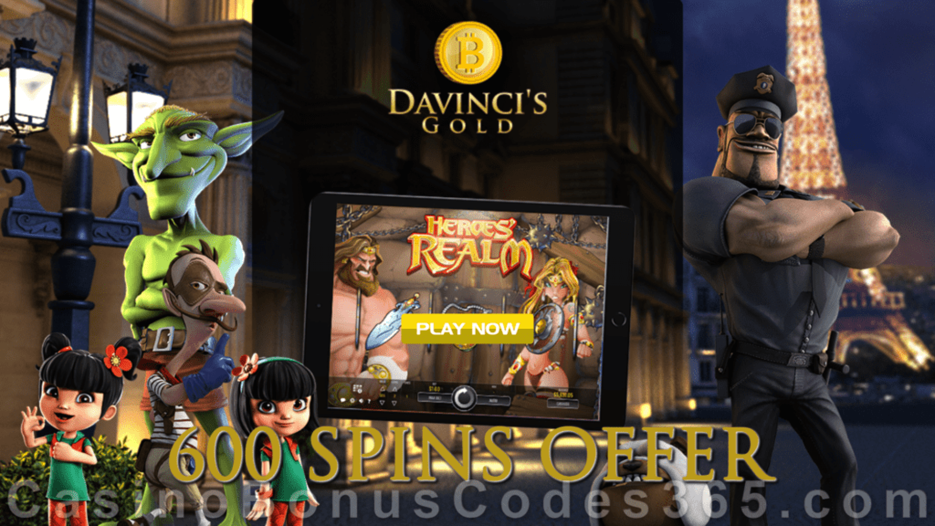 Da Vinci's Gold 600 FREE Spins on Rival Gaming Heroes' Realm May Mega Monthly Offer