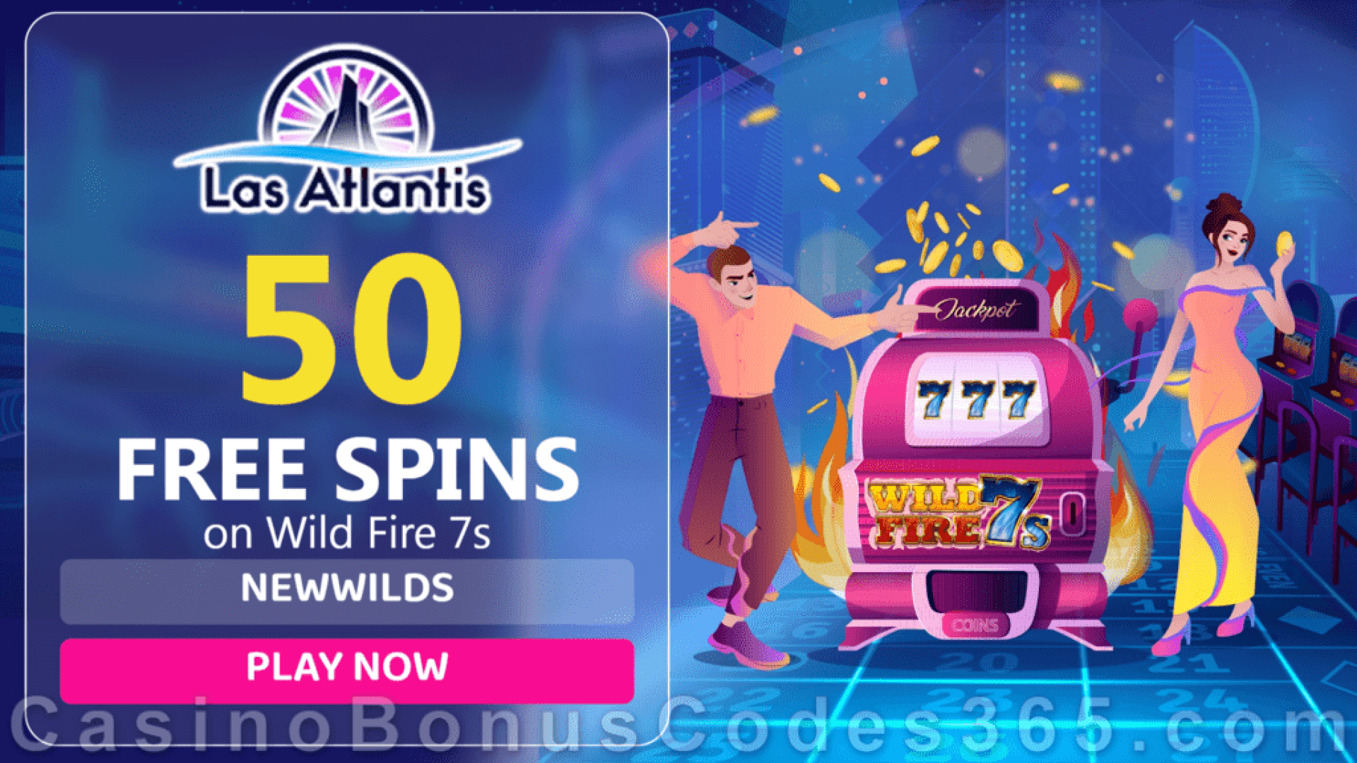 Las Atlantis Casino 50 FREE Spins on Wild Fire 7s New RTG Game Special Deal
