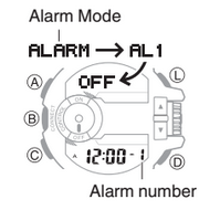 How to set alarm on Casio G-Shock GBA-400