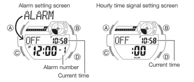 How to set alarm on Casio G-Shock GD-350