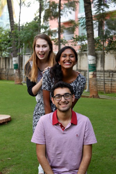 The three of us having a 'photoshoot' near our workplace in Bangalore