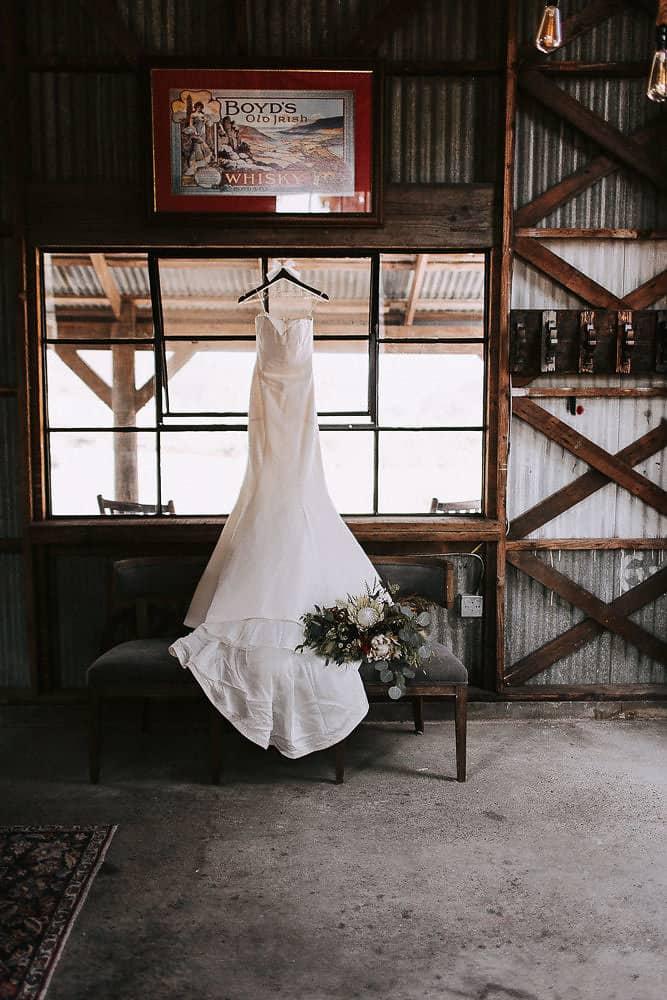 brides wedding gown at abbey road farm in carlton oregon