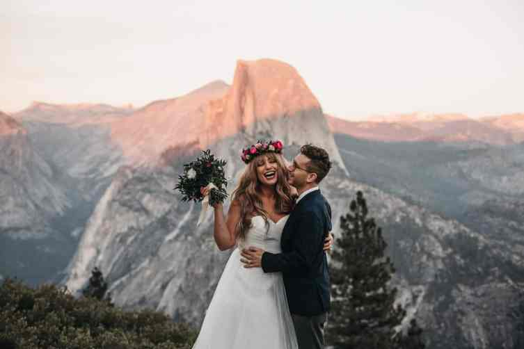 Couple at their yosemite elopement in front of half dome