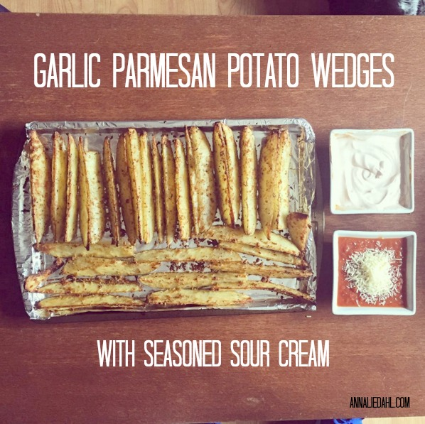 Garlic Parmesan Potato Wedges with Seasoned Sour Cream