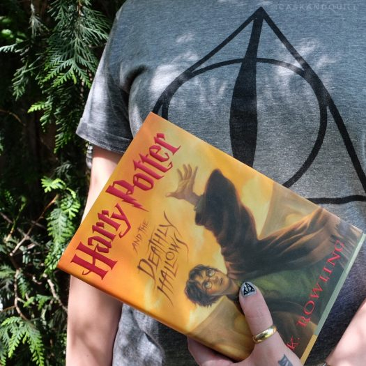 Deathly Hallows shirt, book and nail art