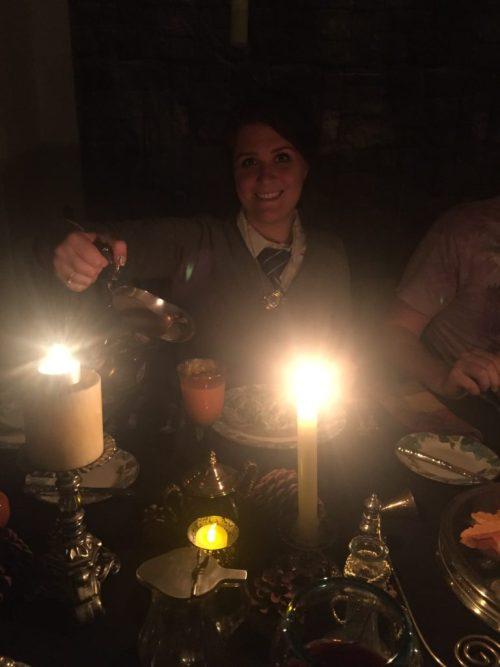 Harry Potter party, pouring pumpkin juice
