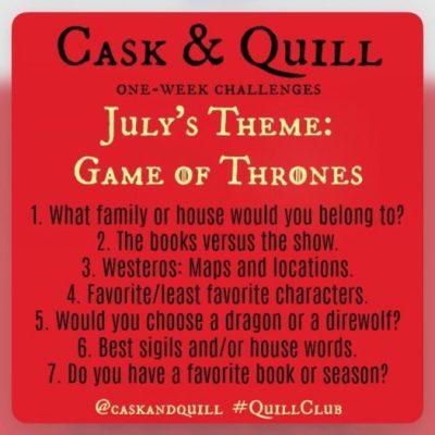 Cask & Quill Game of Thrones Instagram Book Challenge