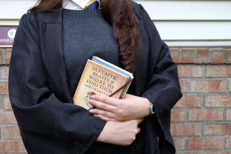 Hogwarts School robes and textbooks, inspired by Harry Potter
