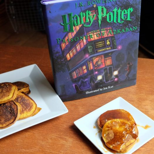 Harry Potter pumpkin pancakes with butterbeer syrup
