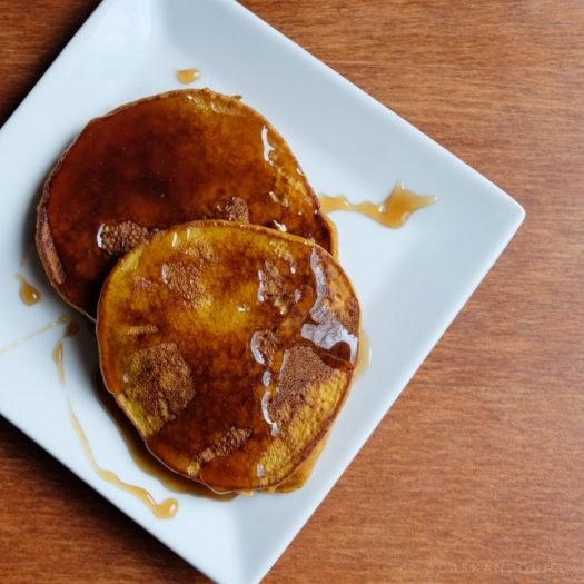 Pumpkin pancakes with butterbeer syrup, inspired by Harry Potter