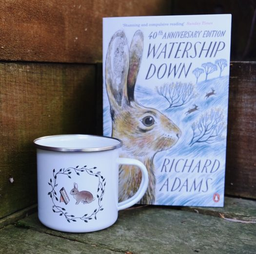 rabbit and book camp mug