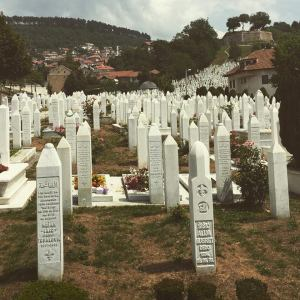 Graves in Sarajevo, with everyone's death year around 1995.