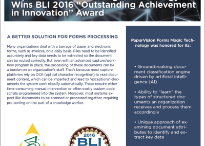 Forms Magic – BLI Award Data Sheet