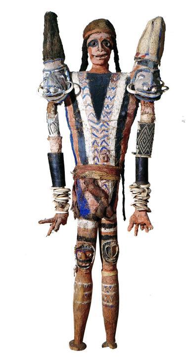 mannequin funéraire-rambaramp_Vanuatu-Malekula-South-west-Bay_pâte végétale-os-plumes-toiles d'araignée-dents de cochon-coquille-fibres végétales_168cm_CUMAA_coll. Deacon