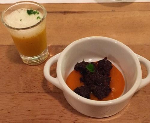 Aromata Suppe und Ochsenbacke
