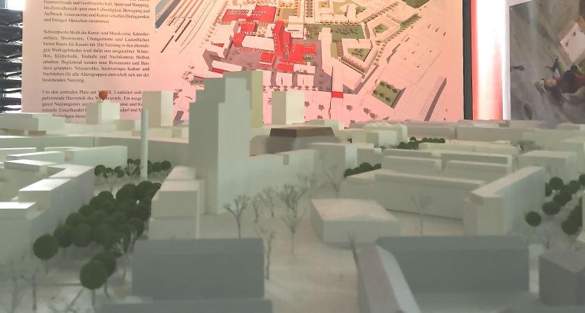 Bebauungsplan und Modell für das neue Werksviertel. ©casowi