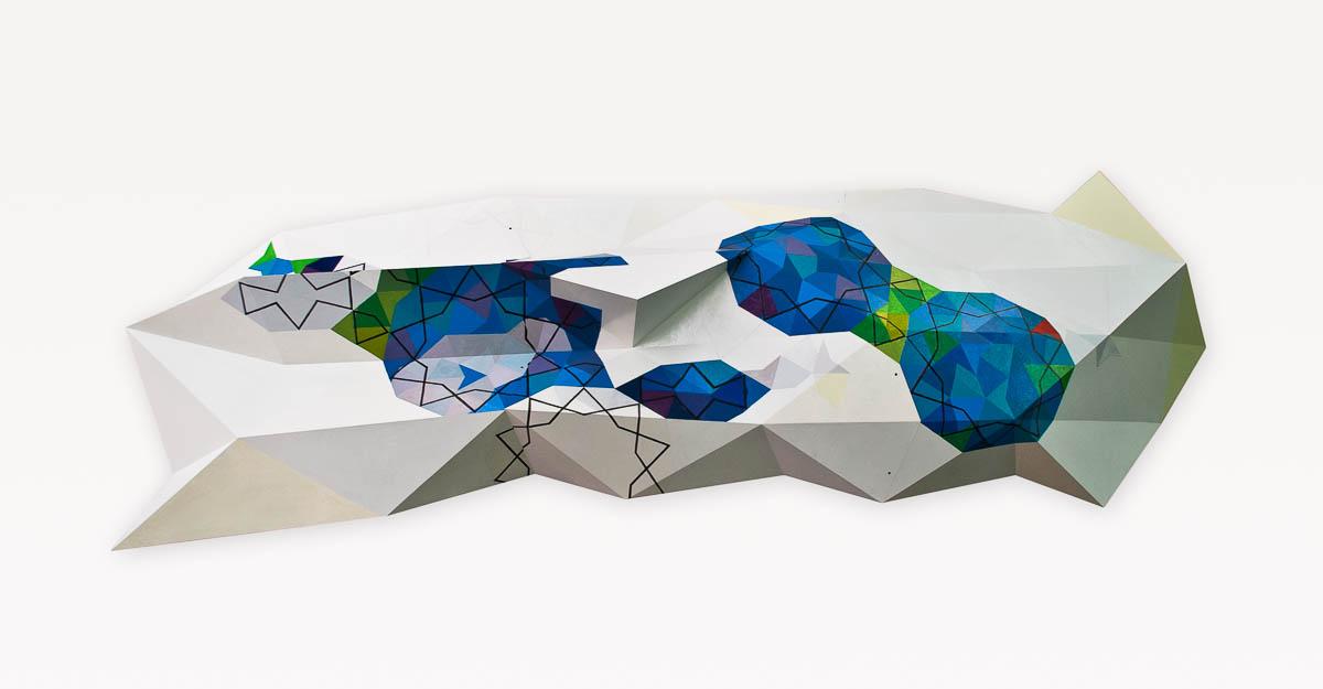 Caspar Fairhall, Folded cosmos, 2012, automotive enamel on marine ply