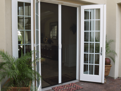 Casper Double Retractable Screen Doors Work on Out-Swing Double French Doors