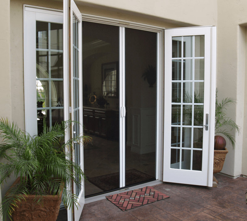 Casper Double Retractable Screen Doors Work On Out Swing Double French Doors