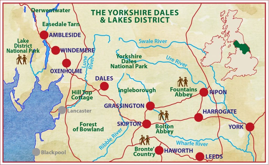 Map Of England Lake District.Lake District Yorkshire Dales Caspin Journeys