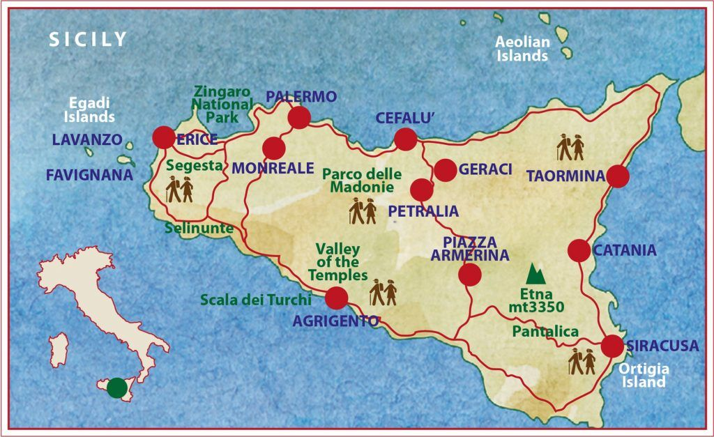 Sicily itinerary map with Caspin Journeys