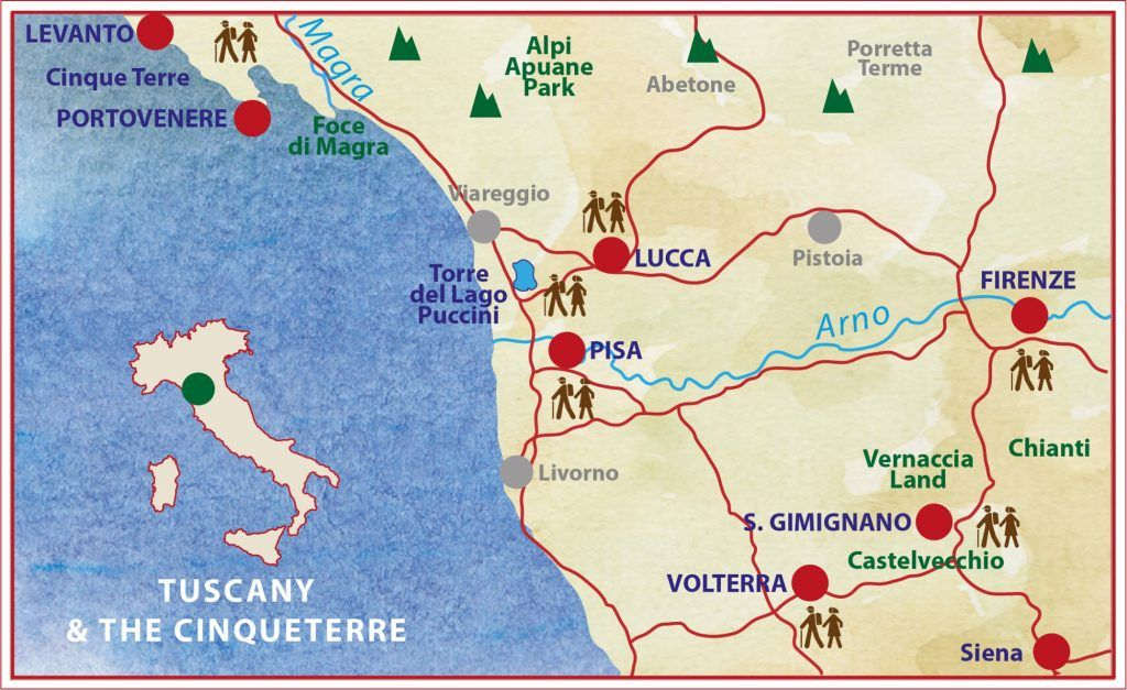 Tuscany On Map Of Italy.Cinque Terre Tuscany Caspin Journeys