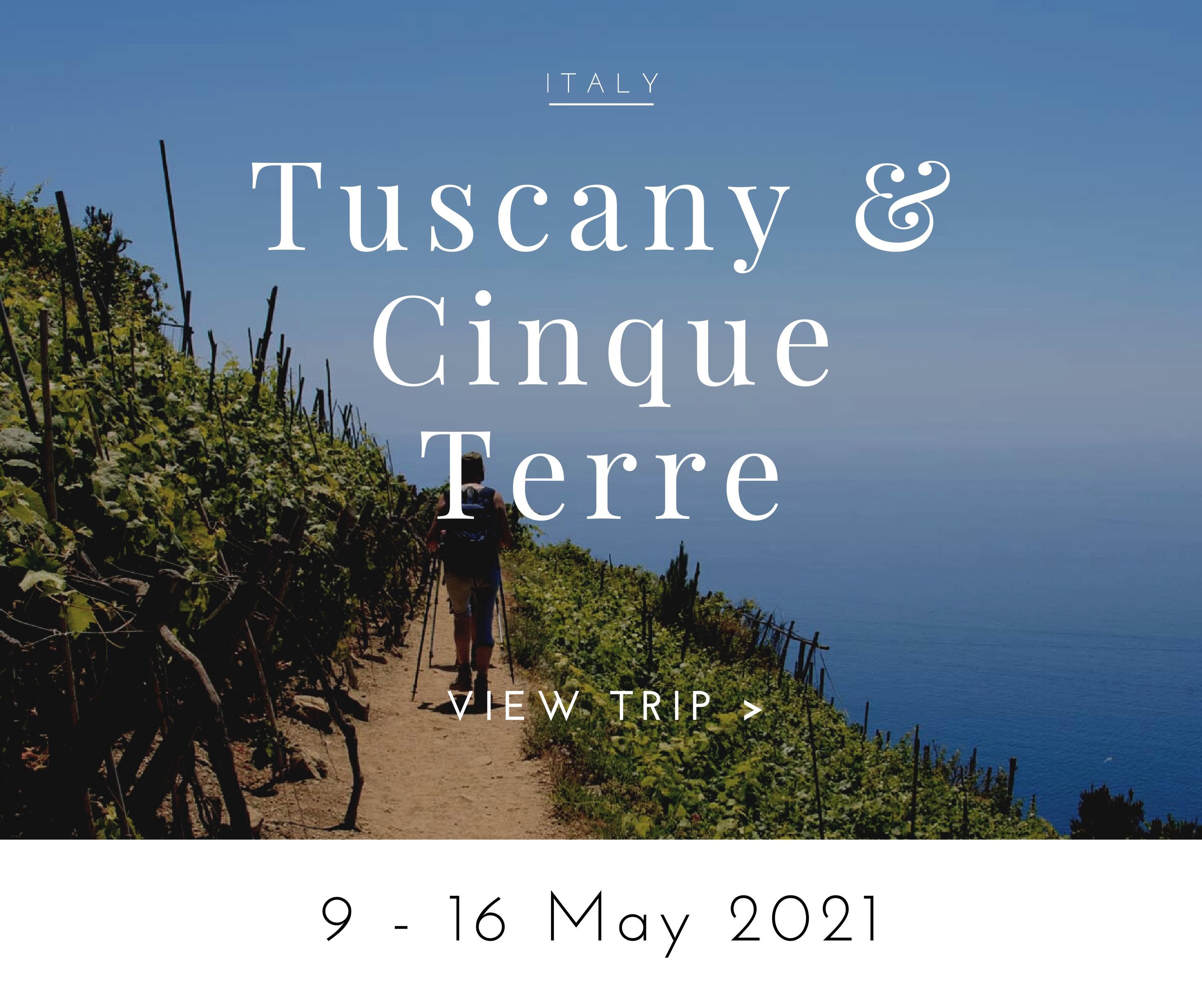 walking tour cinque terre and tuscany may 2021