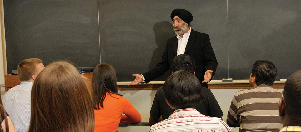 Sawhney in a classroom