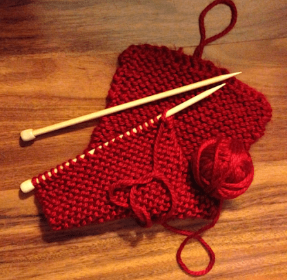 Red Scarf in Progress