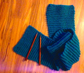 Teal Scarf and Needles
