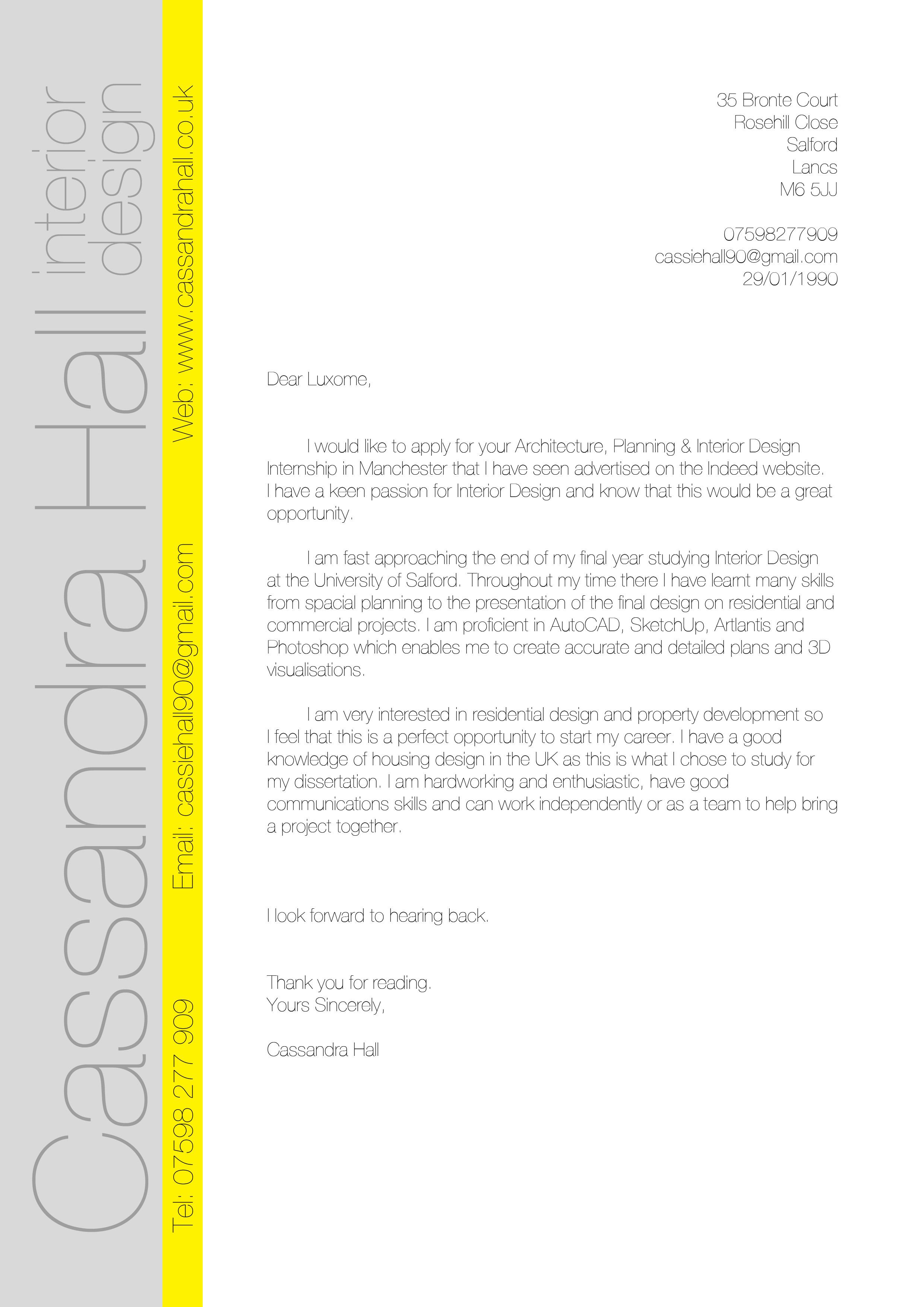 cover letter for interior designer free cover letter. interior ...