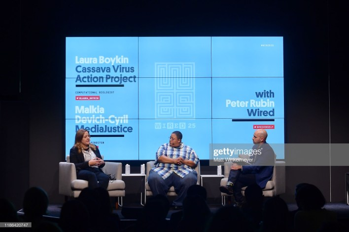SAN FRANCISCO, CALIFORNIA - NOVEMBER 08: (L-R) Laura Boykin, Malkia Devich Cyril and Peter Rubin speak onstage at the WIRED25 Summit 2019 - Day 1 at Commonwealth Club on November 08, 2019 in San Francisco, California. (Photo by Matt Winkelmeyer/Getty Images for WIRED)