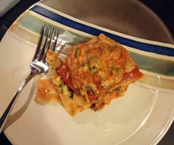 One serving of vegetarian spinach lasagna