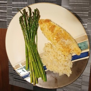 Panko Crusted Tilapia with rice pilaf and asparagus
