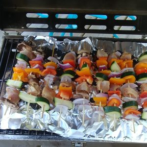 Grilled Veggie and Teriyaki Chicken Kebabs on Grill