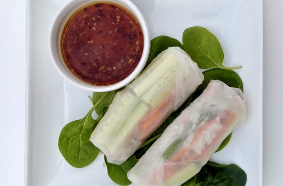 Vegan vegetable spring rolls with a spicy thai dipping sauce