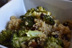 closeup of Roasted broccoli and chickpeas with quinoa power salad bowl