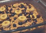 Blueberry banana chocolate chip baked oatmeal