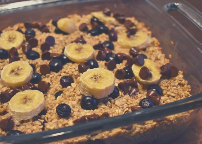 Blueberry banana chocolate chip baked oatmeal