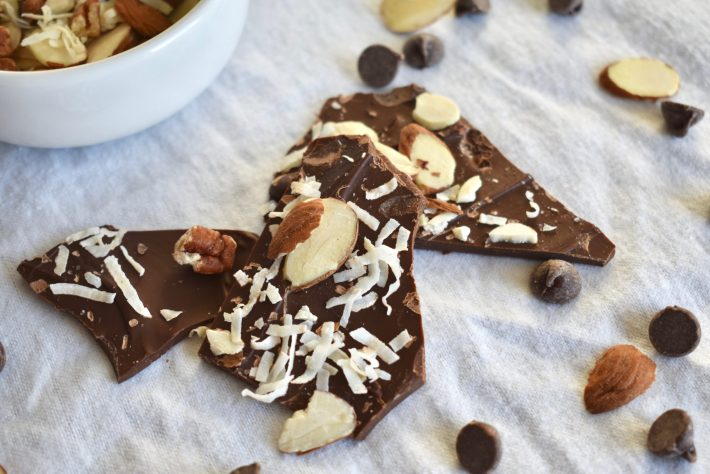 Chocolate Bark with coconut, almonds, and pecans