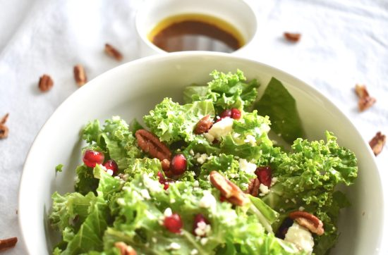 Pomegranate Holiday Salad with Homemade Balsamic Vinaigrette.