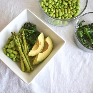 Vegan spring bowl with greens