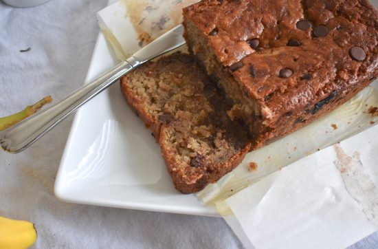 Loaf of best moist chocolate chip banana bread that's vegan friendly