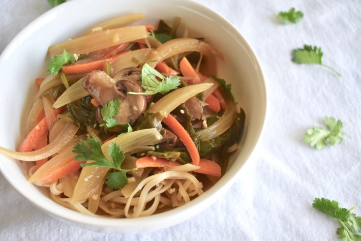 Thai noodle soup vegan with vegetables
