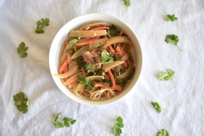 Plant Based Thai noodle soup with vegetables and brown rice noodles