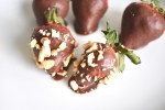 Chocolate covered strawberries with nuts vegan friendly dessert