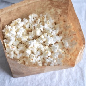 Homemade vegan microwave popcorn with light seasoning