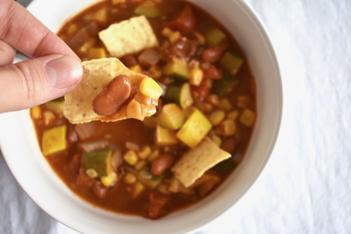Easy vegan tortilla soup recipe with tortilla chips