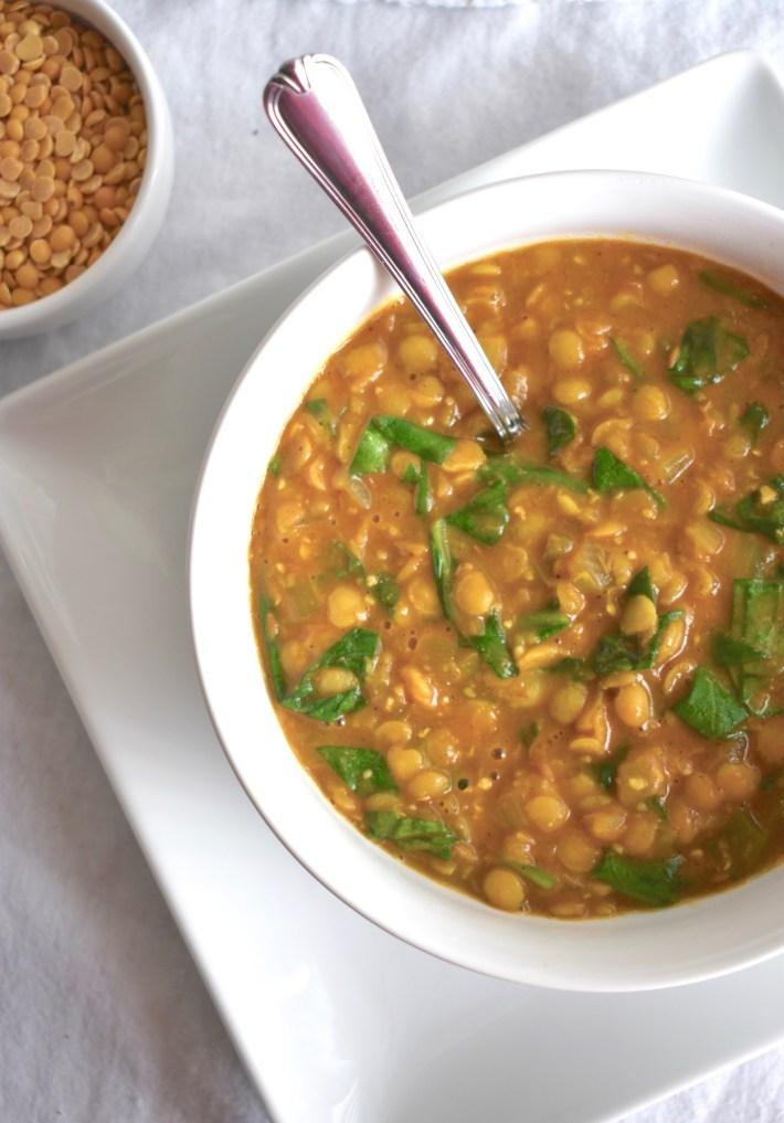 Instant Pot Vegan Yellow Dal Palak